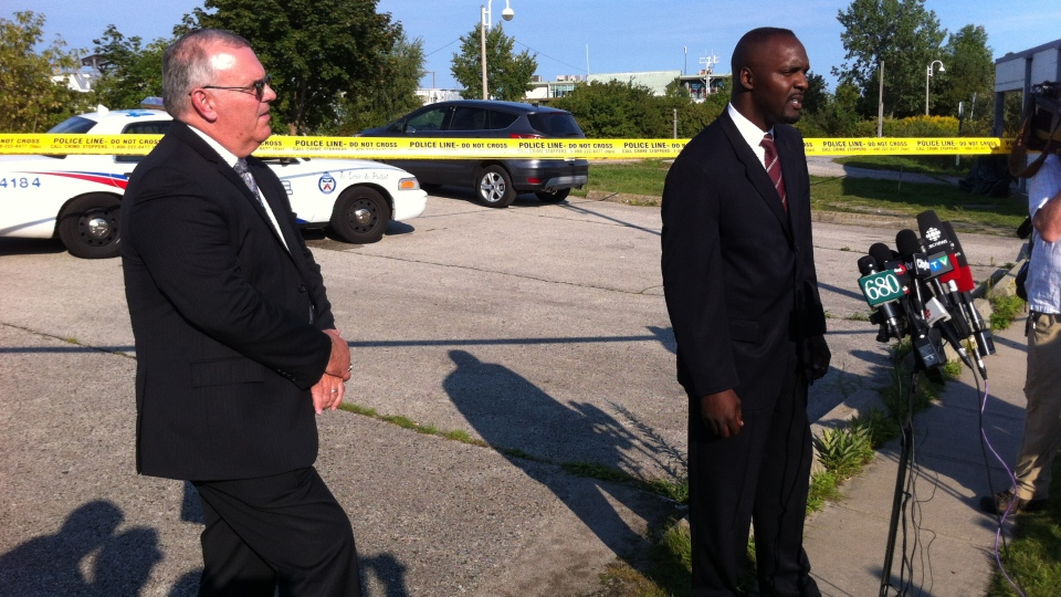 Members of Toronto Police Homicide update the media about the discovery of body parts in a Lake Ontario in Toronto on Wednesday, Sept. 5, 2012.