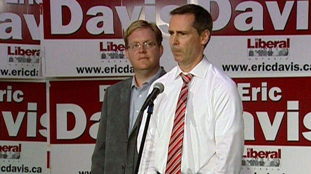 Premier Dalton McGuinty speaks at a press conference alongside Kitchener-Waterloo Liberal Candidate Eric Davis in Kitchener, Ont., Thursday, Sept. 6, 2012.