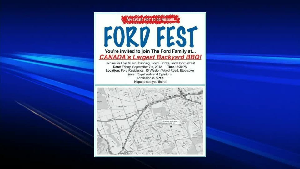 Mayor Rob Ford's annual backyard barbecue is expected to host over 5,000 guests on Friday, Sept. 7, 2012.