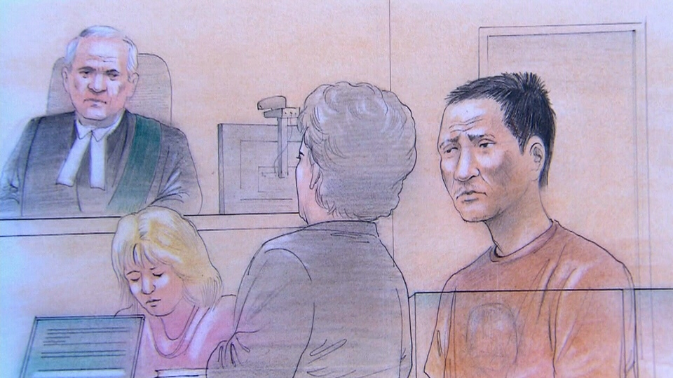 Chin Qi Jiang, 40, appears in a Brampton court with a Mandarin interpreter for a second-degree murder charge on Monday, Sept. 10, 2012.