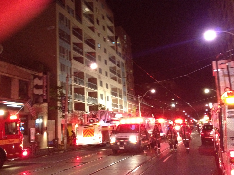 Crews respond to a fire at 84 Carlton St. on Tuesday, Sept. 11, 2012. (CTV/Danny Pinto)