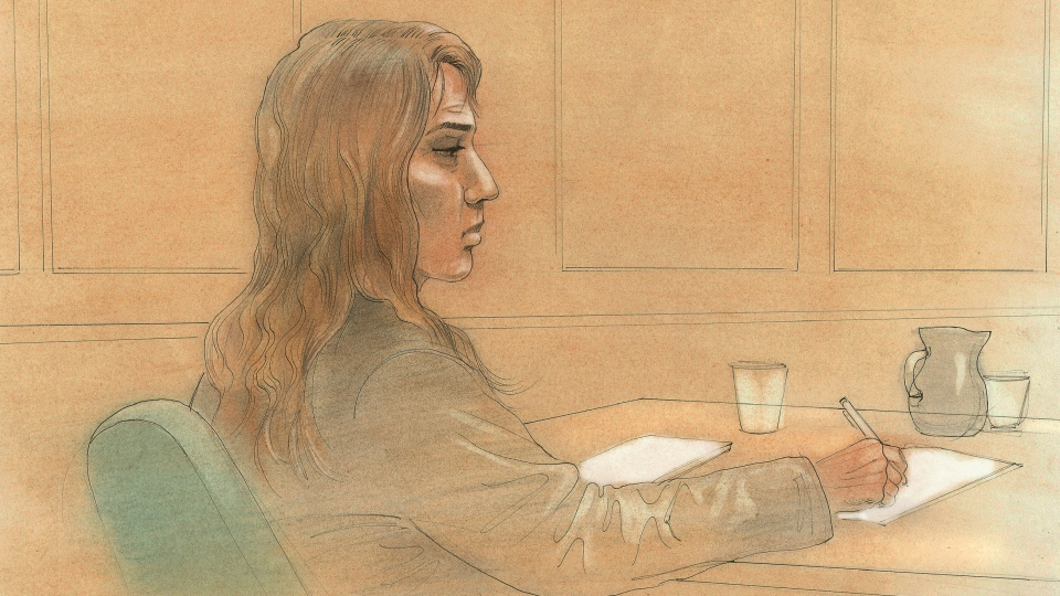 A court sketch depicts Mary Gowans in a Toronto courtroom on Wednesday, Sept. 12, 2012. (CTV/John Mantha)