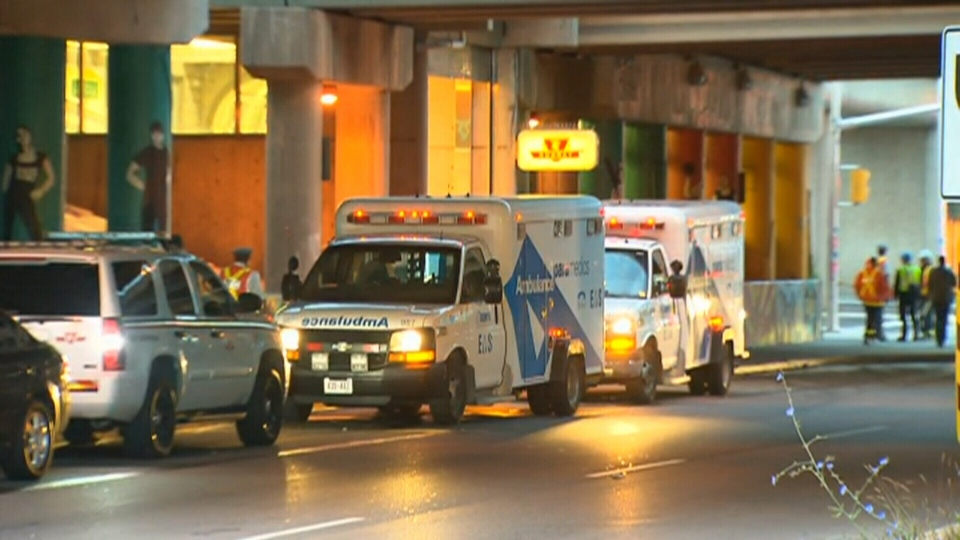 Emergency services on scene following the death of a TTC worker, early Friday, Sept. 14, 2012.