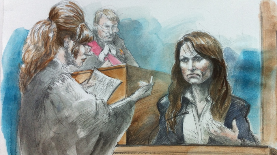 In this courtroom sketch Crown Soula Olver holds up a photo of the accused, Mary Gowans, in jogging attire. (Pam Davies/CTV)