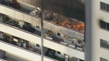 A closeup of the Wellesley St. highrise apartment fire from the CTV News helicopter on Friday, Sept. 24, 2010.