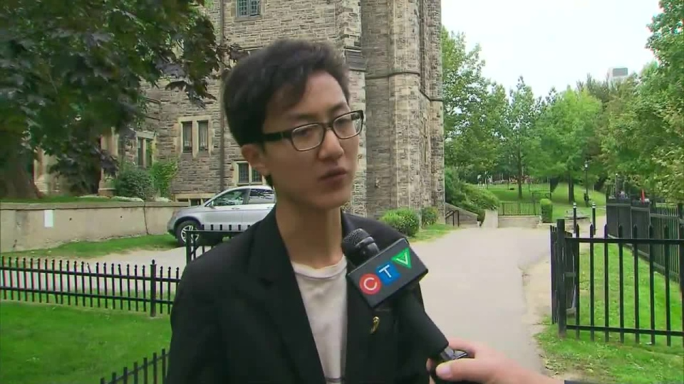 Fan Wu, 20, speaks to CTV Toronto about the prospects of a gay-centric school on Wednesday, Sept. 26, 2012.