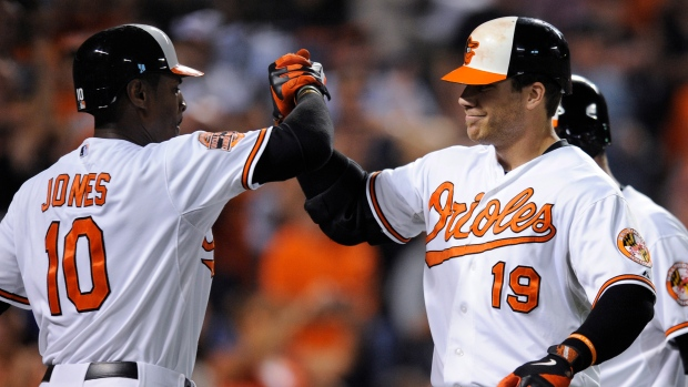 Baltimore Orioles' Chris Davis (19) celebrates with Adam Jones after Davis' three-run home run again