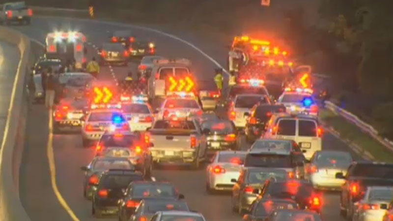 A massive crash left traffic backed up along the southbound Don Valley Parkway on Friday, Oct. 5, 2012.