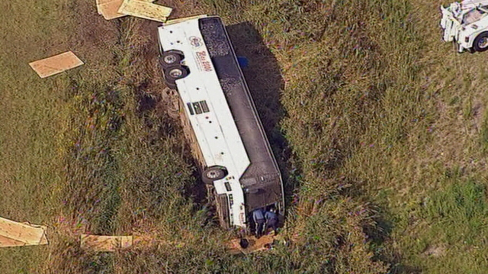 Emergency crews are on the scene after a charter bus headed to New York City from Toronto overturned on an exit ramp in New Jersey on Saturday, Oct. 6, 2012.