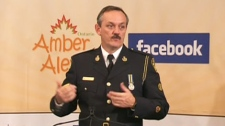 An OPP officer announces that Ontario's Amber Alert system has launched a Facebook alert program that will allow users in the province to immediately know when a child has gone missing on Friday, Oct. 8, 2010.