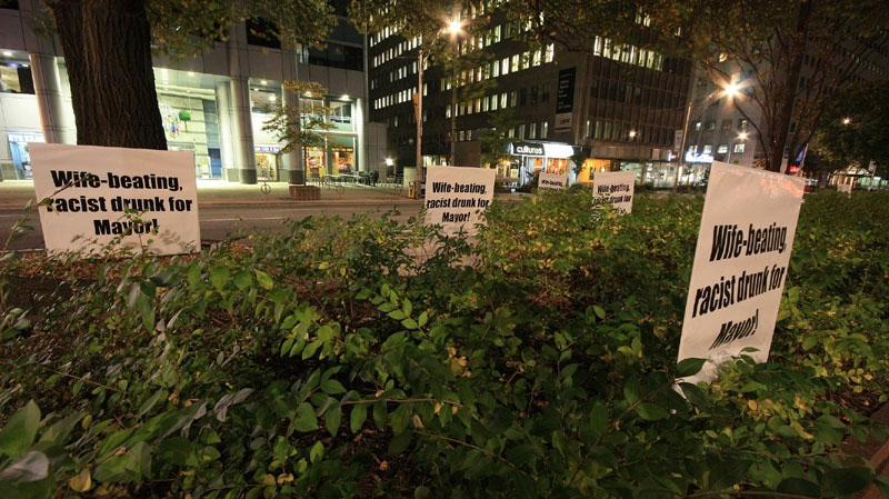 These fake election signs appeared on University Avenue early in the morning on Oct. 12, 2010. They were reportedly taken down by a private citizen. (Tom Stefanac / CTV News)